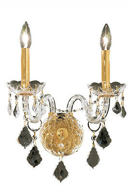 "2 LT GOLD VENETIAN MURANO ASFOUR FRENCH PENDANT CRYSTAL 13""x15"" WALL SCONCE"