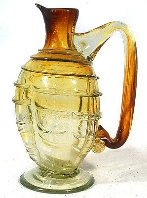 Free Blown Art Glass Pitcher Applied String Handle and Base w/ PONTIL