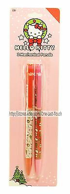 HELLO KITTY By SANRIO 2pc Set MECHANICAL PENCILS Pink+Red HOLIDAY/CHRISTMAS New!
