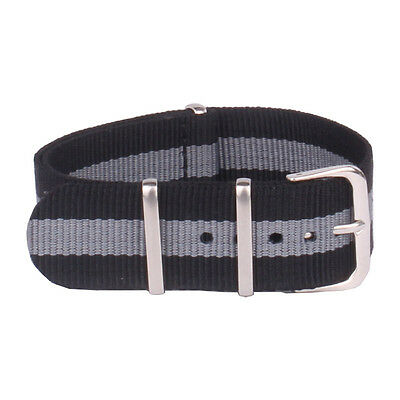 Black Grey Stripe Watch Strap 18mm 20mm 22mm Watchband Nylon Wristwatch Band