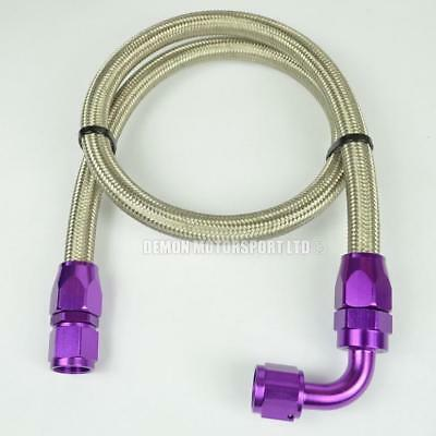 "AN -10 (14mm) 9/16"" Steel Braided Fuel Hose Assembly 61cm Fuel Tank Purple"