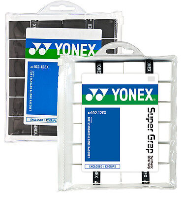 YONEX SUPER GRAP OVERGRIP 12 PACK WHITE OR BLACK GRIP GRIPS NEW
