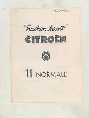 1947 1948 Citroen Traction Avant 11 Normale Brochure French wu5735