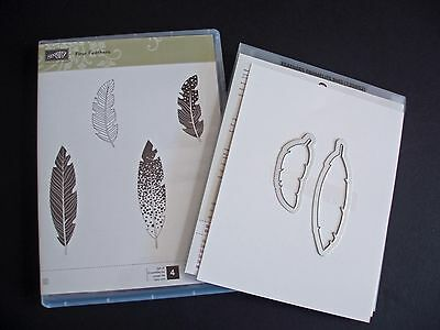 """NEW Stampin' Up """"Four Feathers"""" Stamp Set & Matching Framelits Dies"""