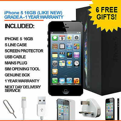 Apple iPhone 5 16GB Black Factory Unlocked Grade A + Accessories