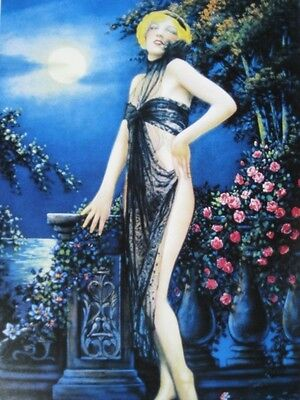 "Fabulous Art Deco Pinup Girl Sexy Beauty Moonlight & Roses ""Lily of the Valley"""