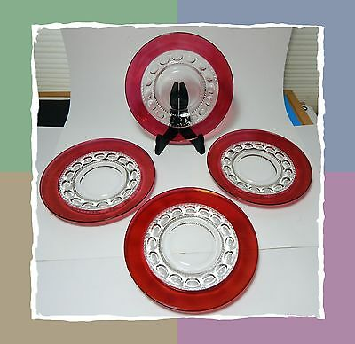 Tiffin King Crown Salad Plates  -  Cranberry Thumbprint - Ruby Red Flash
