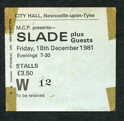 Original 1981 Slade Concert Ticket Stub Till Deaf Do Us Part Tour Newcastle UK