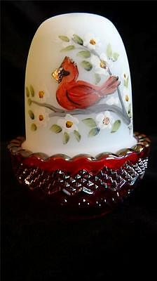 Mosser Glass Red Cardinal with Ruby Red Carnival Bird Base Fairy Light Lamp