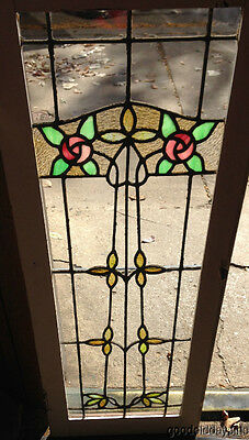 "Antique Prairie Style Stained Leaded Glass Door / Window 44"" x 16"""