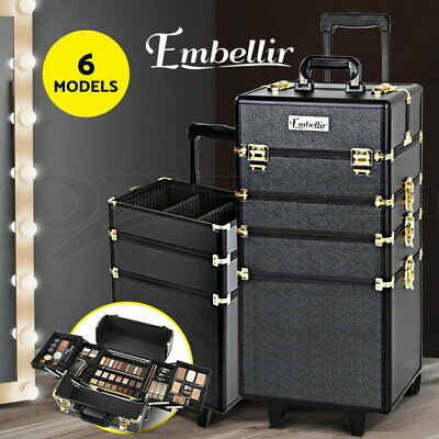 Embellir 7 In 1 Professional Beauty Case Cosmetic Makeup Case Trolley Aluminum