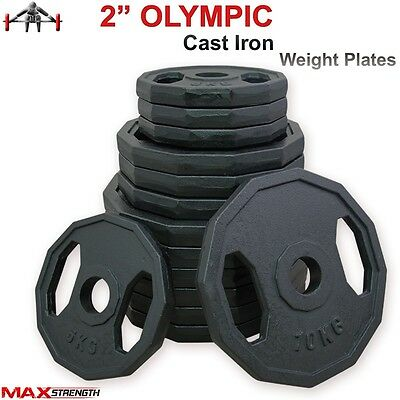Olympic Weight Plates Double Grip Disc Cat Iron Weightlifting Powerlifting Gym