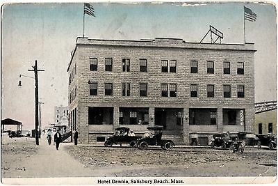 Machusetts Ma Postcard C1910 Salisbury Beach Hotel Dennis Cars Crowd