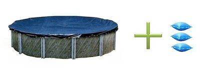 Swimline 30' ft Round Swimming Pool Winter Cover + 3) 4x4 Air Closing Pillows