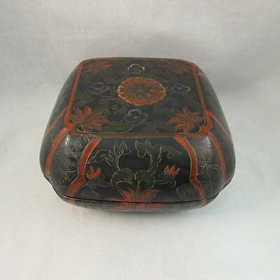 Antique Chinese lacquer floral box red green and black