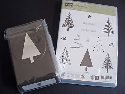 """NEW Stampin' Up """"Festival of Trees"""" Photopolymer Stamp Set & Matching Punch"""