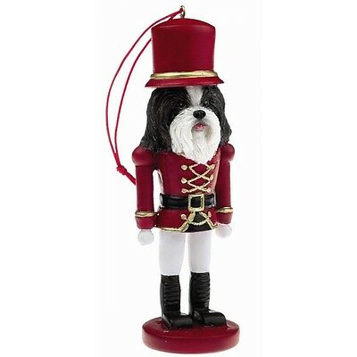 Shih Tzu Black White Dog Soldier Holiday NUTCRACKER ORNAMENT
