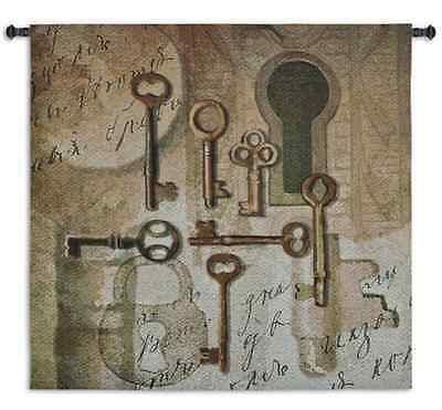 VINTAGE ANTIQUE LOCK ABSTRACT ART TAPESTRY WALL HANGING 48x48