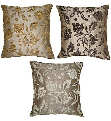 CHENILLE BROCADE BEIGE/TAN GOLD CHOCOLATE/BROWN TAPESTRY THROW PILLOW 18x18