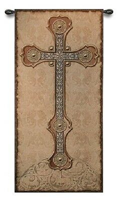 GOTHIC ANTIQUE CROSS MEDIEVAL ART TAPESTRY WALL HANGING 26x60