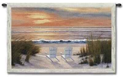 OUR OCEAN VIEW BEACH FRONT SUNSET VIEW ART TAPESTRY WALL HANGING 52x34