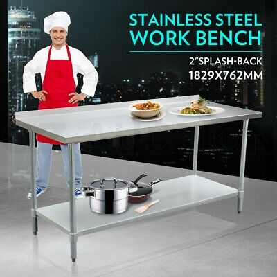 183cm x 76cm Stainless Steel Kitchen Work Bench Food Prep Catering Table 1.8M