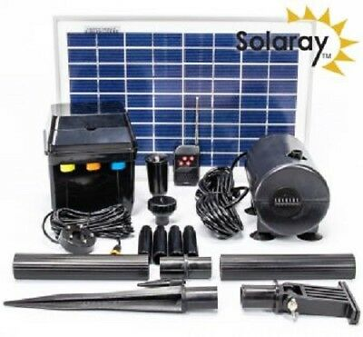 Water Pump Kit Solar Powered With LEDs For Water Feature Fountain Pool Pond