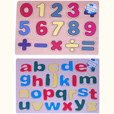 Alphabet or Numbers Wooden Jigsaw Puzzle - Young Childrens Educational Play Toy