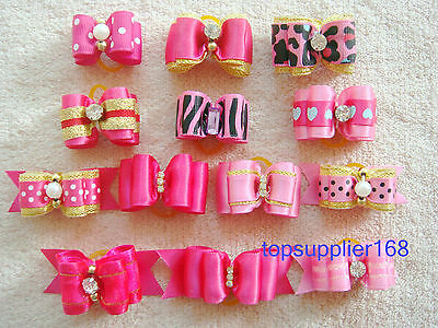HOT PINK new Dog bows pet Grooming hair Pet charms mix Accessories Girls gift