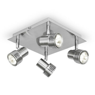 Modern Square Brushed Chrome GU10 Kitchen Ceiling Light Fitting Spotlight Lights
