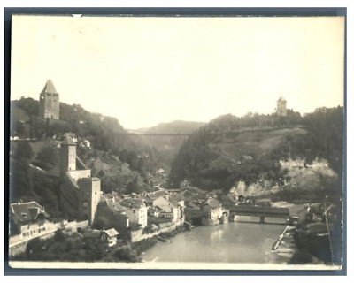 Suisse, Fribourg, Panorama  Vintage silver print.  Tirage argentique  8x11