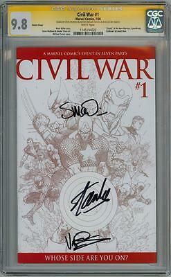 CIVIL WAR #1 SKETCH CGC 9.8 SIGNATURE SERIES SIGNED x3 STAN LEE MCNIVEN MOVIE