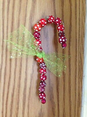 Antique Trade Beads/ Skunk Candy Cane Ornament**