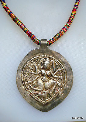 vintage antique tribal old silver necklace hindu god shiva amulet pendant