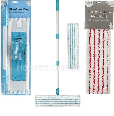 Elliott Flat Microfibre Absorbent Mop Floor Cleaner Extendable Handle Or Refill