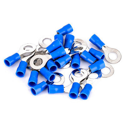 20pcs Blue 14-16 AWG RV 2-6 Insulated Crimp Ring Terminal Wire Connector