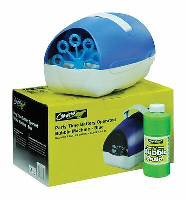 Battery Or Mains Large Blue Party Time Bubble Machine (Up To150 Bubbles Per Min)