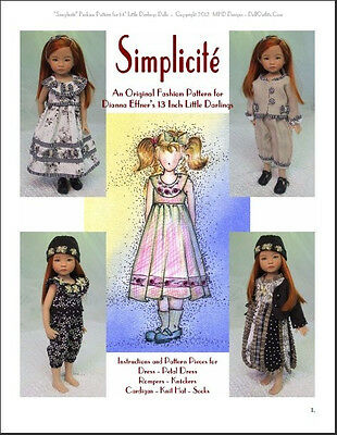 """""""Simplicité"""" Fashion Pattern for Dianna Effner's 13 Inch Little Darlings"""