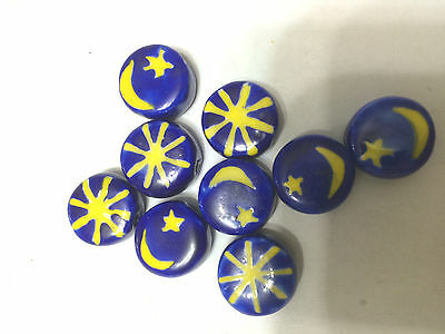 Blue & Yellow Sun Moon Star Porcelain Ceramic Disk Beads