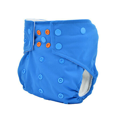 Double Gussets Washable Baby Cloth Diaper Colorful Snaps for Boy +1 insert in US