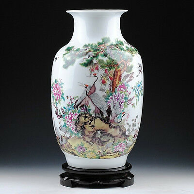 The classical porcelain vase painted birds cranes & peony in spring landscape