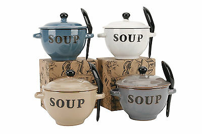Natural Coloured Ceramic Soup Bowls With Spoon & Lid With Box Ideal Xmas Gift