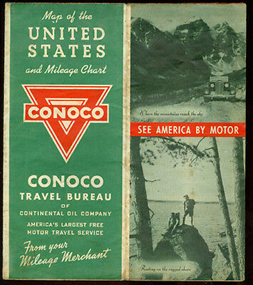 1940 + War Years * Conoco Map Of The United States * Complete * Free Ship To Usa