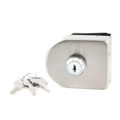 Household Silver Tone Metal Keyed Lock for 13mm Hinged Glass Door Cabinet