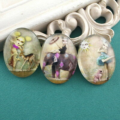 3x HUGE Glass Whimsical Girl Animal Oval Cameo Cabochon 30x40mm Group C