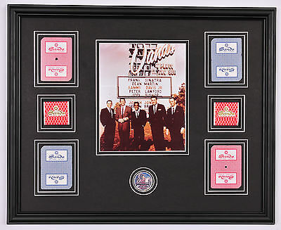 RAT PACK Sands Hotel photo framed display w/ cards , poker chip and matchbooks
