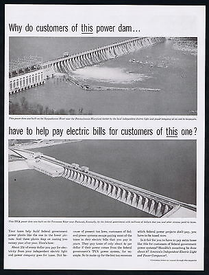 1957 America's Independent Electric Light Power Co Two Dams Taxes Print Ad