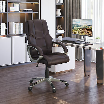 Luxury Computer Office Desk Chair PU Leather High Back Swivel Adjustable Brown