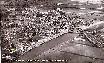 Carmarthen & River Towy, from an Aeroplane # 5118 by Photochrom.