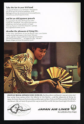 1967 Japan Airlines JAL Pretty Hostess Photo Hand Fan Kimono Vintage Print Ad